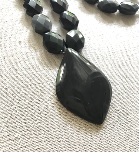 Bleaker Black Obsidian Necklace