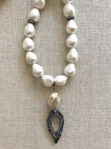 Mercer Pearl and Druzy Necklace