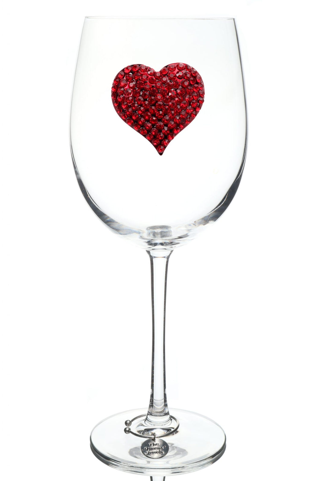 Red Heart Jeweled Wine Glass ~ Stemmed