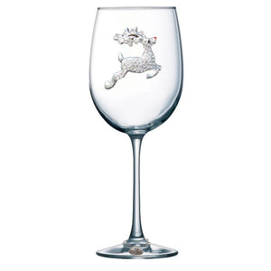 Reindeer Jeweled Wine Glass