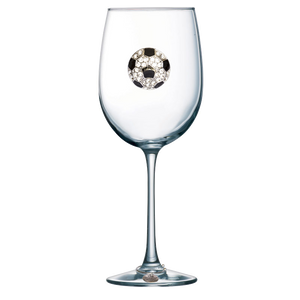 Soccer Ball Jeweled Wine Glass
