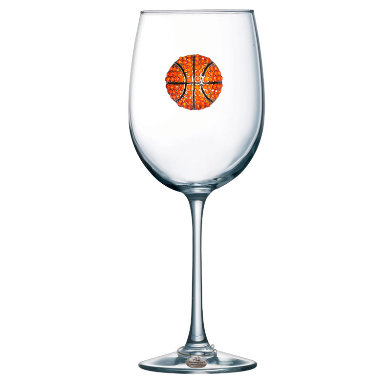 Basketball Jeweled Wine Glass ~ Stemmed