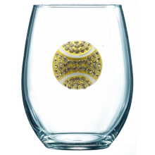 Load image into Gallery viewer, Tennis Jeweled Wine Glass ~ Stemless