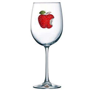 Red Apple Jeweled Wine Glass ~ Stemmed