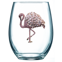 Load image into Gallery viewer, Flamingo Jeweled Wine Glass ~ Stemless
