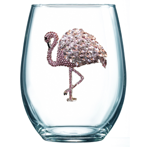 Flamingo Jeweled Wine Glass