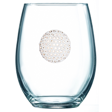 Load image into Gallery viewer, Golf Jeweled Wine Glass ~ Stemless