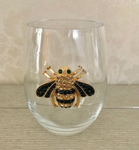 Load image into Gallery viewer, Queen Bee Jeweled Wine Glass ~ Stemless