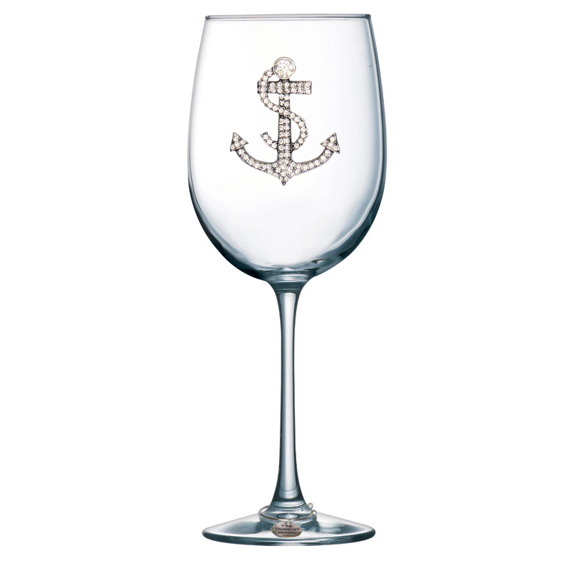Anchor Jeweled Wine Glass ~ Stemmed