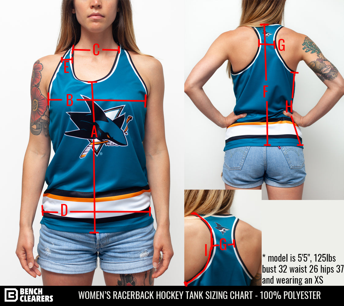 Bench Clearers Women's Hockey Tanks Sizing Chart
