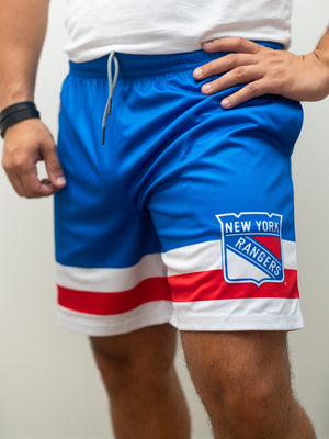 New York Rangers Mesh Hockey Shorts - Front