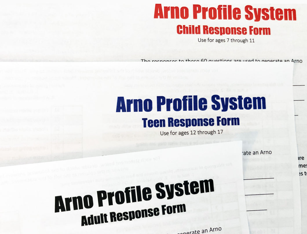 APS Questionnaire Response Form Packet: 30 Adult, 10 Teen, 10 Child