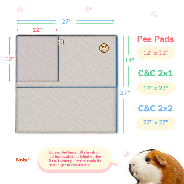 Flat Lay of 3 GuineaDad Guinea Pig Waterproof Fleece Liners In Sizes of C&C 2x2 C&C 2x1 and Pee Pad with Product Dimensions