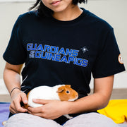 Guinea Pig held by woman wearing GuineaDad Black T-Shirt Guardians of the Guinea Pigs Sizes Small Medium Large XL