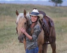 Load image into Gallery viewer, amber marshall safety helmet, amber marshall helmet, amber marshall hat,Amber Marshall, Amber Marshall Helmet, Amber Marshall Western, heartland helmet, Western helmet, rodeo helmet, cowboy helmet, cowgirl helmet, resistol ride safe, ridesafe, ride safe, resistol helmet, ride safe helmet
