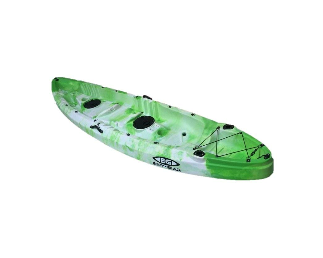 Happiness Tandem - Eddy Gear Kayaks | Kayaks for Fishing and Recreation -Green And White-Eddy-Gear.com