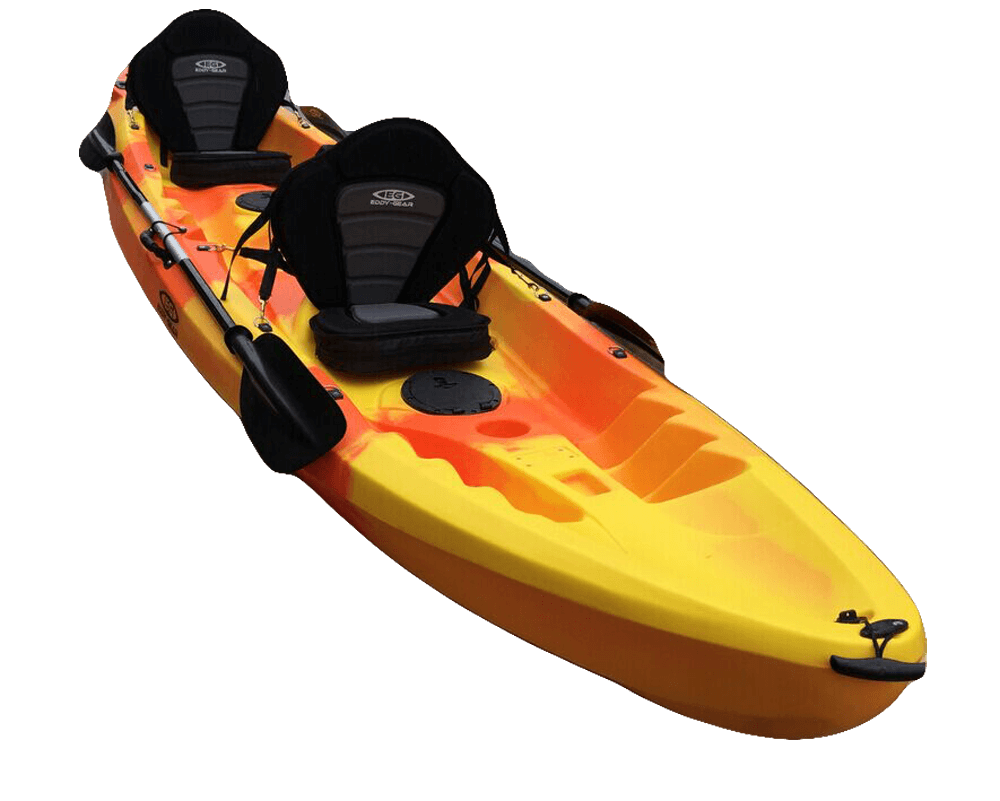 Happiness Tandem - Eddy Gear Kayaks | Kayaks for Fishing and Recreation -Orange-Eddy-Gear.com