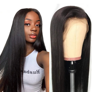 (Free shipping over $45)10A Lace Front human Wig with Baby Hair Pre Plucked 100% Unprocessed Brazilian Virgin Straight wig
