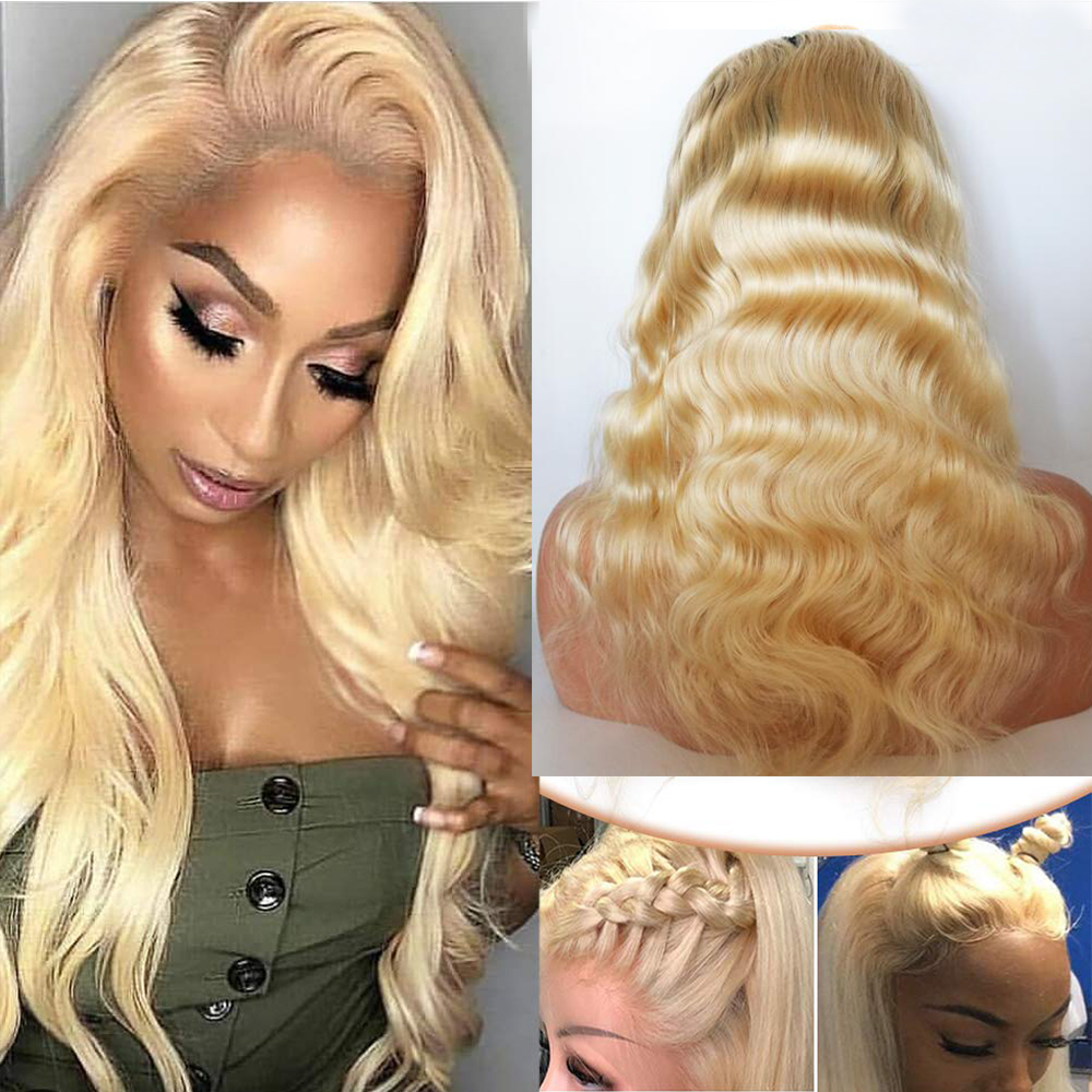 Blonde malaysian 360 Wave Lace Front Wigs With Baby Hair