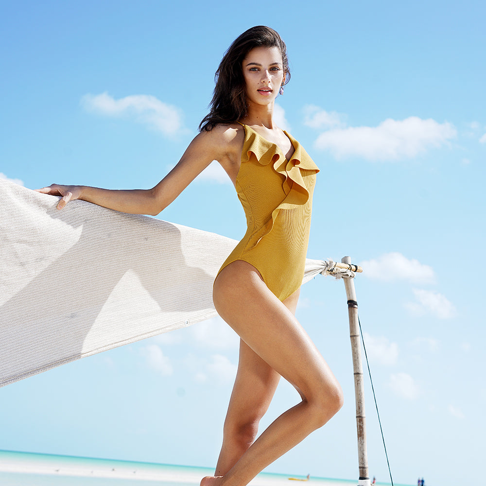 Valery's One-piece Swimsuit with Deep V-neck