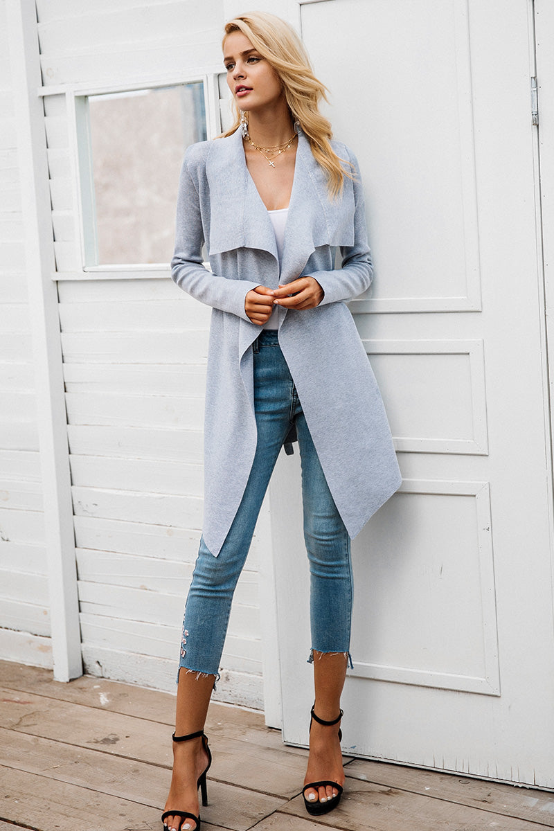 Elastic knitting long cardigan