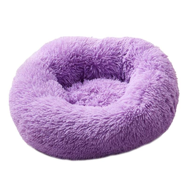 Super Soft Dog or Cat Bed Long Plush Round Small Beds Portable