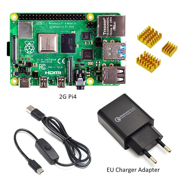 Raspberry Pi 4 Model B kit Basic Starter Kit in stock with power switch line type-c interface EU/US Charger Adapter and heatsink