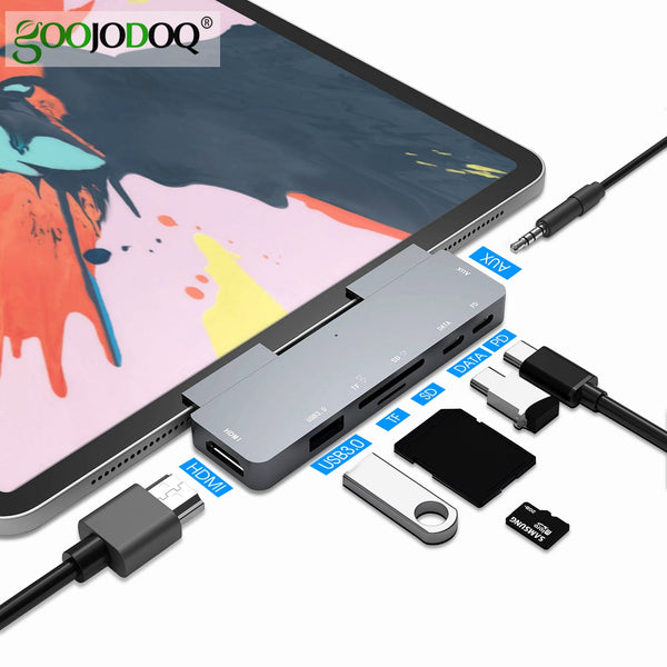 GOOJODOQ USB C Hub 60W PD Charging for iPad