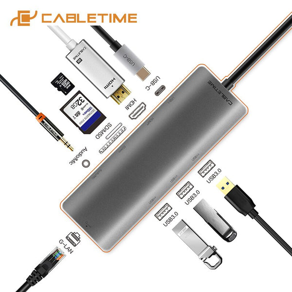 CABLETIME Docking Station USB C HUB to Multi USB 3.0 HDMI