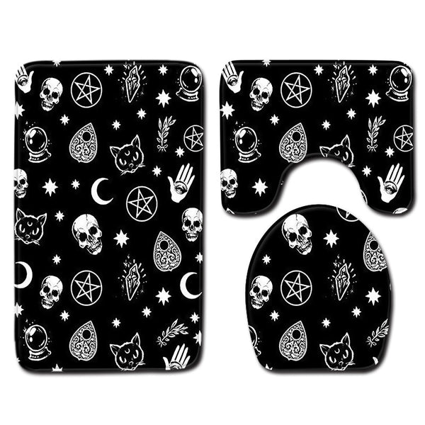 Suger Skull 3pcs Bath Mat  Best Selling 2019 Products Carpet Bathroom Mat Anti Slip Toilet Rug Set Toilet Seat Cover Accessories