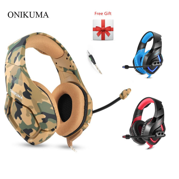 ONIKUMA K1 Camouflage PS4 Gaming Headsets Wired Deep Bass