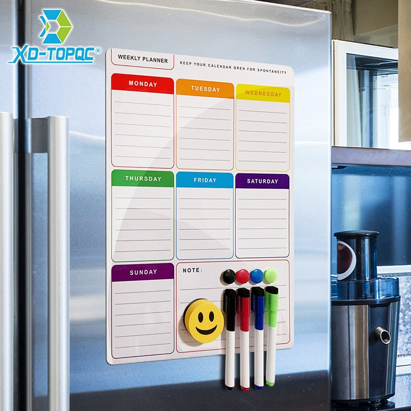 New Whiteboard Planner A3 Magnetic White Board For Notes Dry Wipe Weekly Plan Refrigerator Magnet Flexible Drawing Message Board