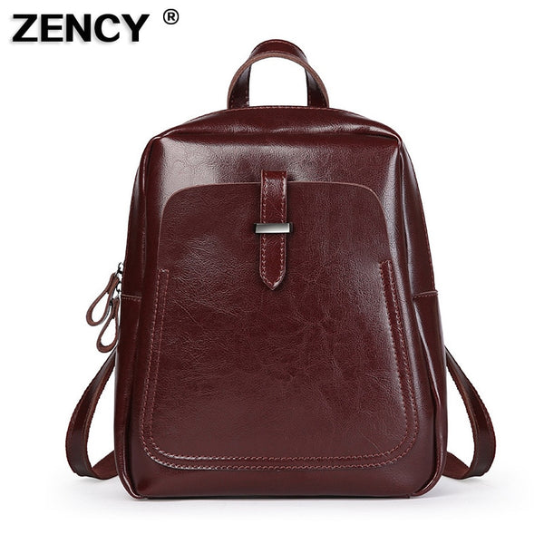 ZENCY Best Seller Classic Vintage Genuine Oil Wax Cowhide Cow Leather Women Girls Real Leather School Backpack Shoulder Bag