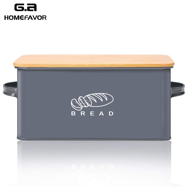 Bread Box With Bamboo Cutting Board Lid