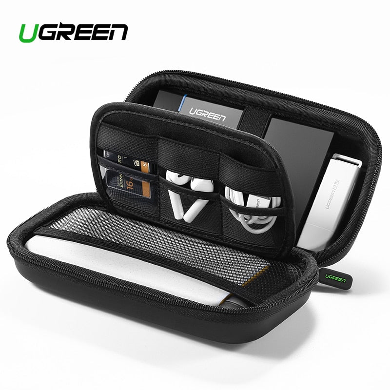 Ugreen Power Bank Case Hard Case Box for 2.5 Hard Drive Disk USB Cable External Storage Carrying SSD HDD Case