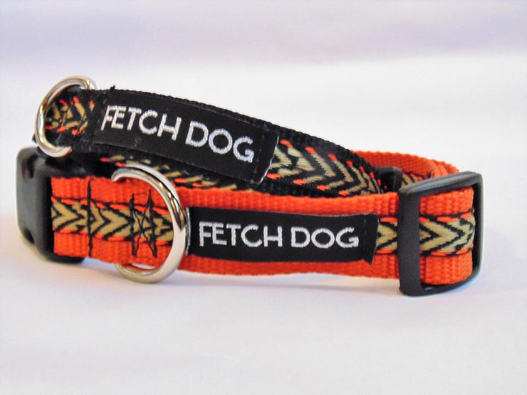 Orange & Black Arrow Dog Collar - Fetch Dog