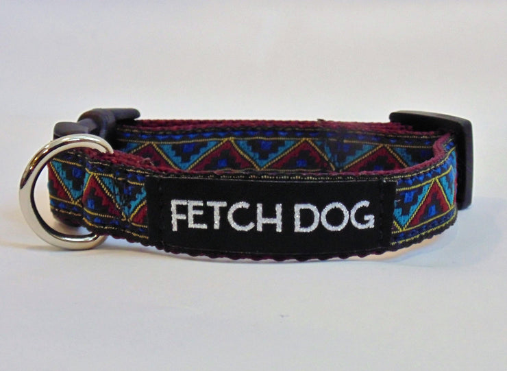 Southwest Maroon Dog Collar - Fetch Dog