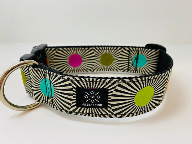 Stripes and Dots Wide Dog Collar