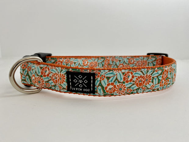Orange Camellia Dog Collar