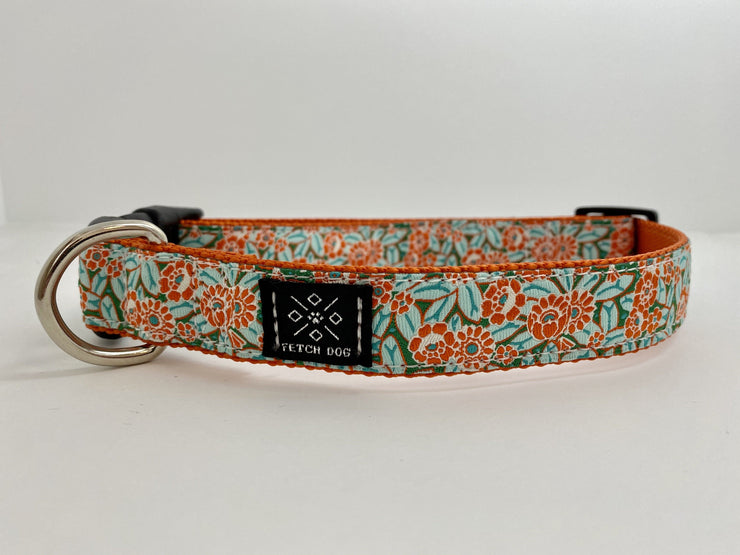 Orange Camellia Dog Collar Dog Collar Fetch Dog