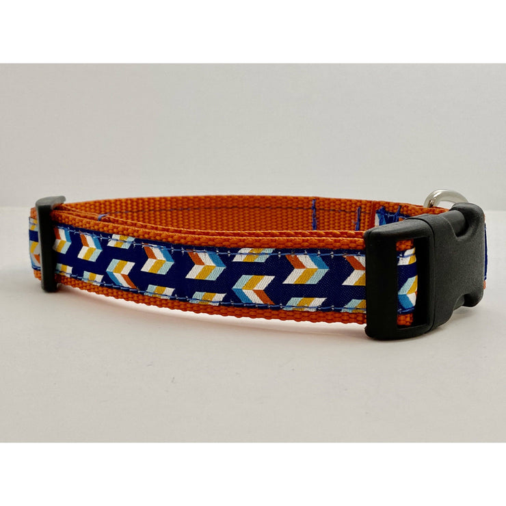Blue and Orange Arrows Dog Collar Dog Collar Fetch Dog