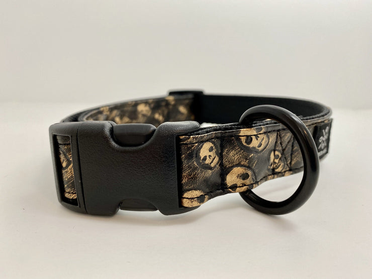 Black Copper Skulls Dog Collar