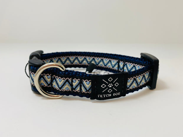 Blue Geometric Small Dog Collar