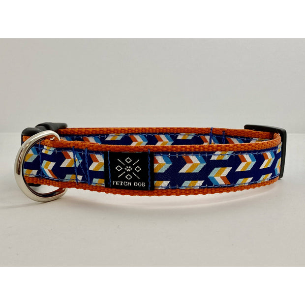 Blue and Orange Arrows Dog Collar