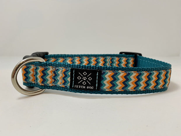 Teal Waves Dog Collar Dog Collar Fetch Dog