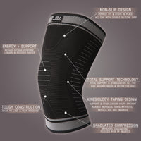 Knee Sleeve Support Brace for Men & Women - Black & Gray