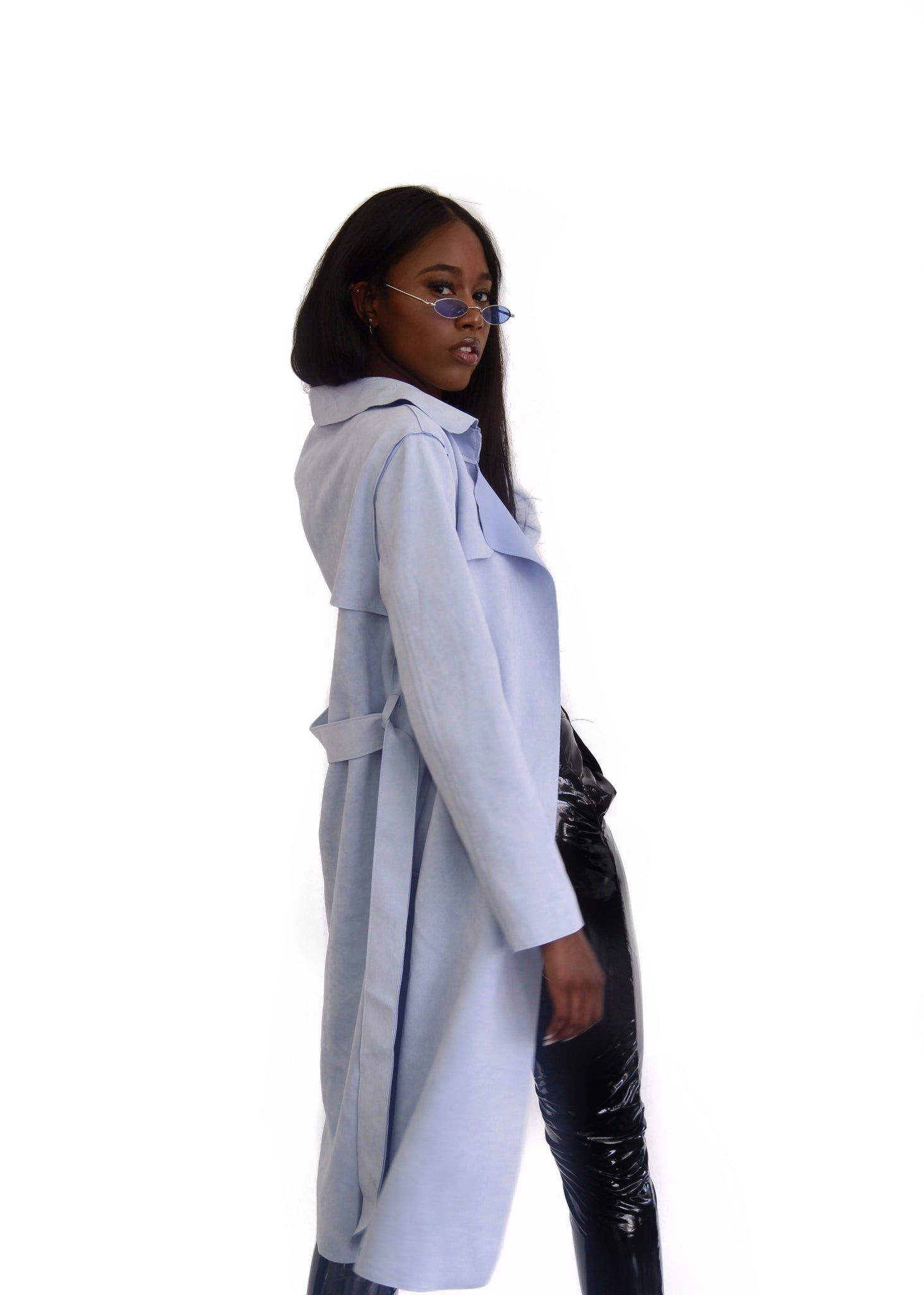 BABY BLUE SUEDE LONG TRENCH