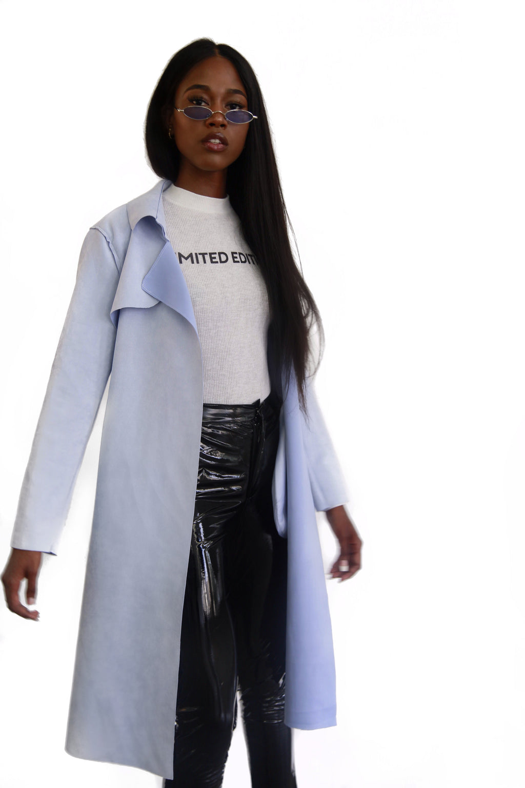 baby blue suede long trench jacket