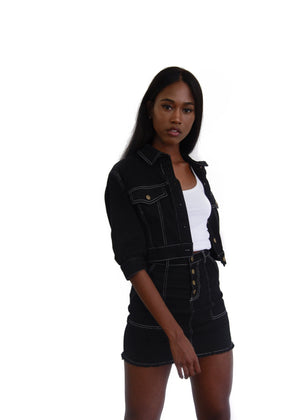 womens black denim skirt and jacket set