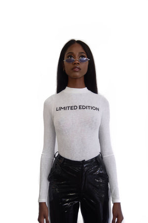 white fashion bodysuit long sleeve